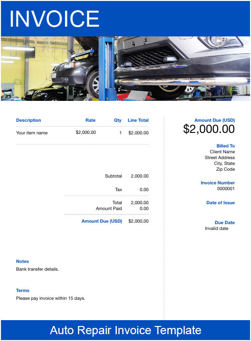 Free Templates Auto Repair Invoices Try Free Invoice Creator