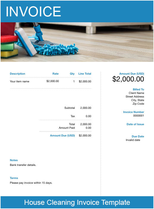 free cleaning service invoice template  u2013 try free invoice